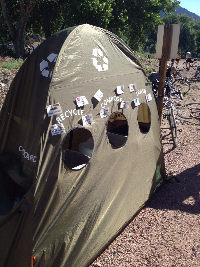 Recycle Tent at Aid Station