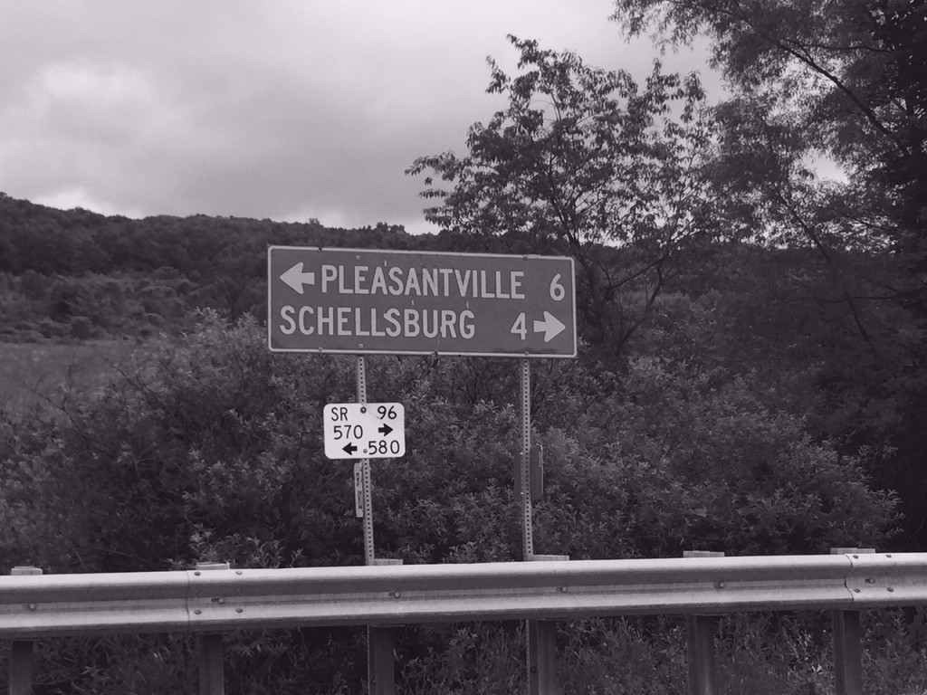 The sign for Pleasantville, was appropriately, black and white