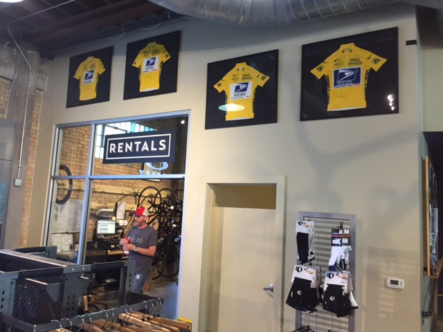 Four of Seven Yellow Jerseys at Mellow Johnny's. I think the Tour de France called and want these baclk.