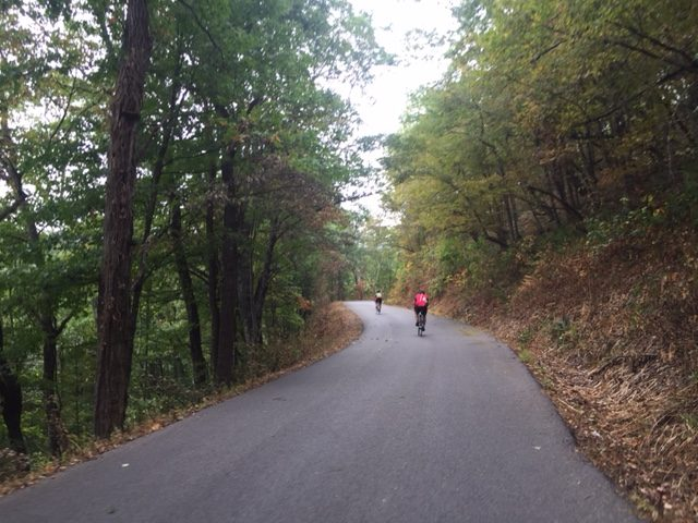 Two riders headed up Reddish Knob